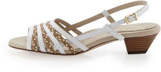 Eric Javits Mavi Slingback Low-Heel Sandal, White