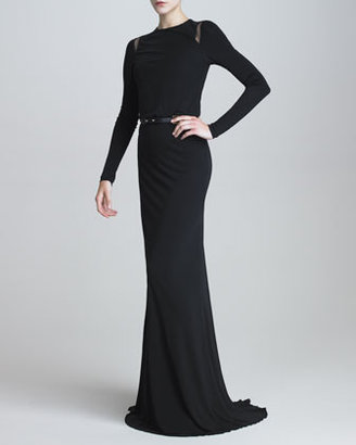Elie Saab Long-Sleeve Jersey Gown