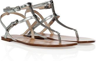 KORS Silver Leather Jedda Thongs