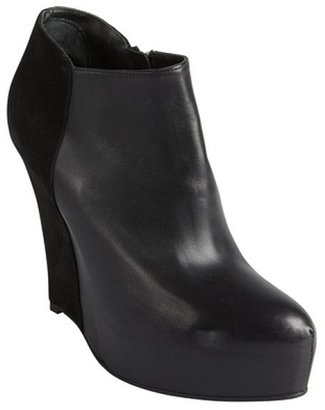 A.F.Vandevorst AF Vandevorst black leather and suede platform wedge heel ankle boots