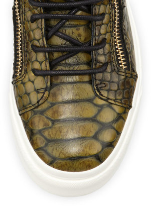 Giuseppe Zanotti Snake-Print Zip High-Top Sneaker, Green