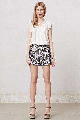 Anthropologie Buttoned & Blossomed Sailor Shorts