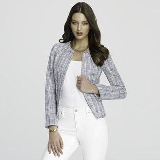 Anne Klein Cotton Tweed Jewel Neck Jacket