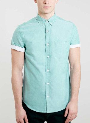 Topman Green Contrast Sleeve Shirt