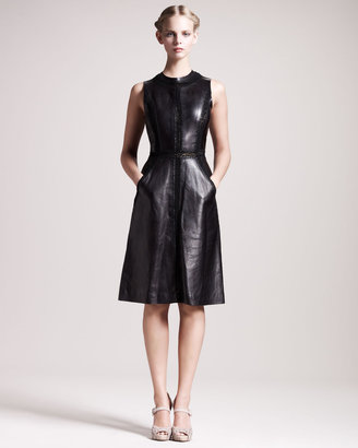 Valentino Embroidered Leather Dress