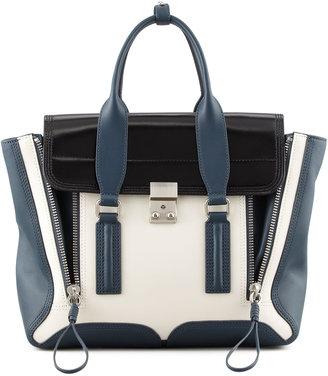 3.1 Phillip Lim Pashli Medium Satchel Bag, Steel/Black/Off White