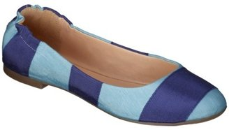 Mossimo Women's Ona Striped Scrunch Ballet Flat - Turquoise