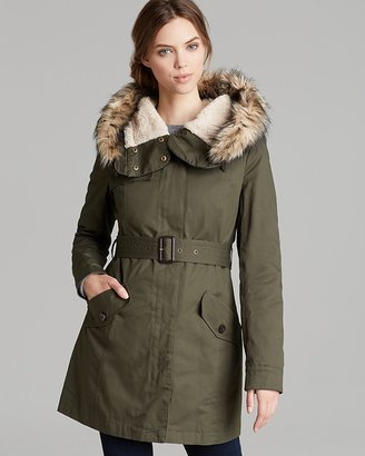 DKNY Coat - Faux Fur Trimmed Hooded
