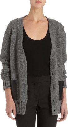 Barneys New York Cardigan with Leather Pockets