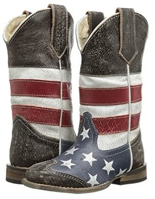 Roper American Flag Square Toe Boot (Toddler/Little Kid) (Blue) Cowboy Boots