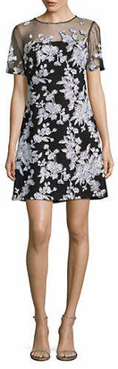 Tadashi Shoji Embroidered Floral Illusion Dress