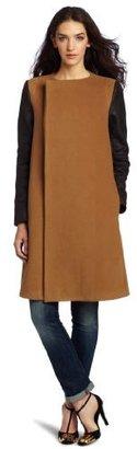 BCBGMAXAZRIA Women's Genova Contrasted Sleeve Coat
