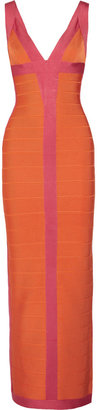 Herve Leger Two-tone bandage gown