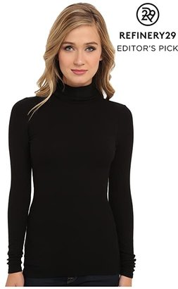 Three Dots Refined Rib L/S Turtleneck (Black) Women's Long Sleeve Pullover