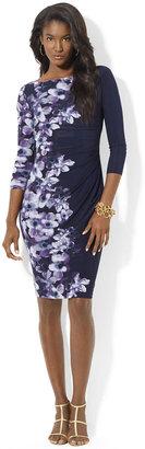 Lauren Ralph Lauren Three-Quarter Matte Jersey Printed Bateau Dress