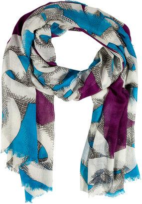 Diane von Furstenberg Blue Shaded Chain Wool-Silk Hanovar Scarf