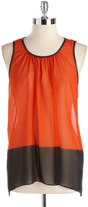 Vince Camuto Two-Tone Chiffon Top