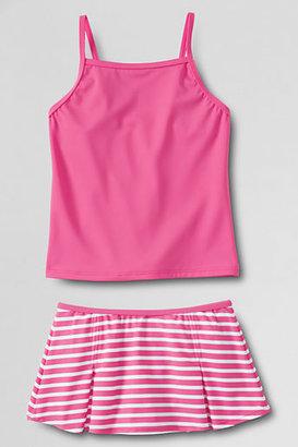 Lands' End Girls' Slim Stripe Swim Mini Set