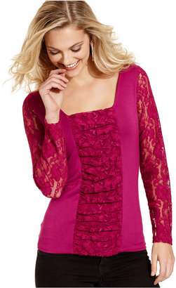 Fever Top, Long-Sleeve Lace Squareneck