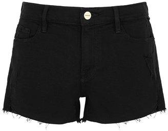 Frame Le Cutoff Black Stretch-denim Shorts