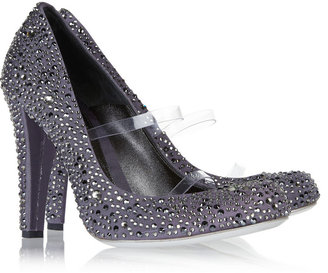 Alexander McQueen Crystal-embellished twill pumps