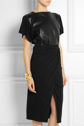 Vionnet Leather-paneled jersey-crepe dress