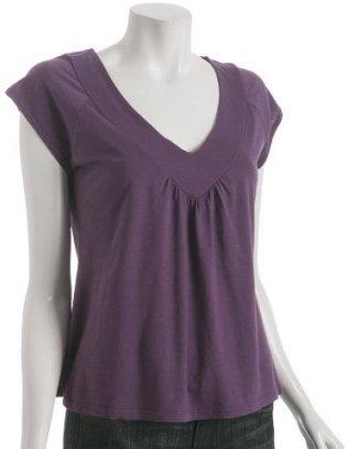 Rebecca Beeson grape jersey deep v-neck t-shirt
