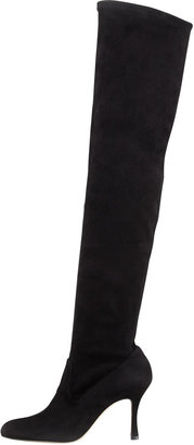 Manolo Blahnik Pascalare Over-the-Knee Stretch Suede Boot, Black