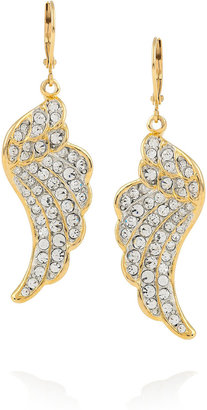 Kenneth Jay Lane Gold-plated crystal wing earrings