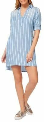 Dex Striped High-Low Shirtdress