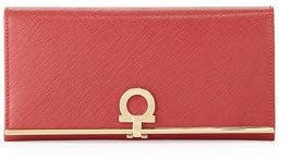 Salvatore Ferragamo Gancio Clasp Continental Wallet, Rosso $595 thestylecure.com
