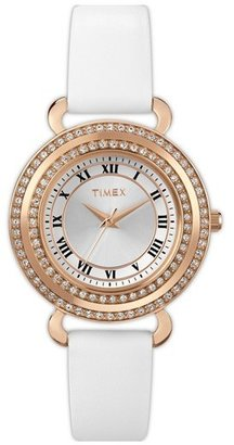 Timex 'Classic Crystals' Round Leather Strap Watch, 33mm
