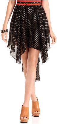Ali & Kris Juniors Skirt, Polka Dot Print Belted Asymmetrical