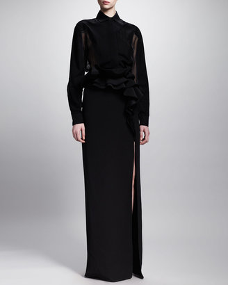 Givenchy Ruffled Waist Long Skirt