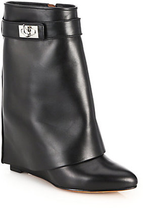 Givenchy Shark Lock Leather Pants Mid-Calf Wedge Boots