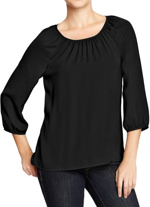 Old Navy Women's Shirred-Neck Crepe Blouses
