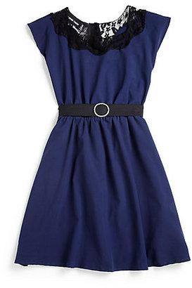 Un Deux Trois Girl's Lace-Trimmed Dress
