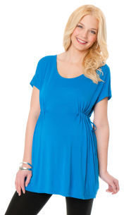 Motherhood Short Sleeve Scoop Neck Drawstring Maternity Tunic