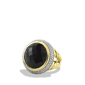 David Yurman Cerise Ring with Black Onyx and Diamonds in Gold