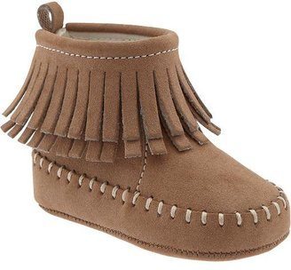Old Navy Sueded Fringe Moccasin Boots for Baby