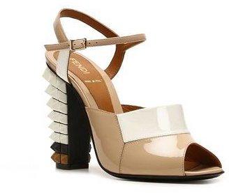 Fendi Patent Leather Peep Toe Sandal