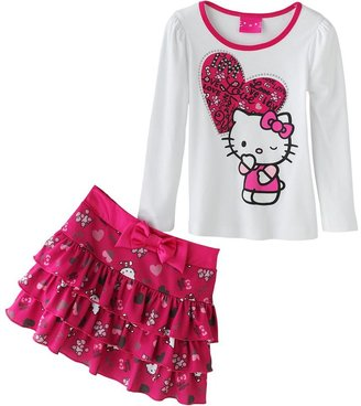 Hello Kitty heart & poodle top & skirt set - girls 4-7