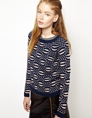 Eleven Paris Tapple Jumper in navy and Rose Gold Knit