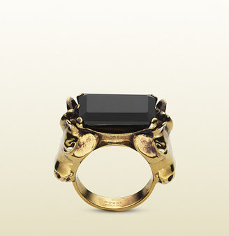 Gucci Black Onyx Ring With Horse Heads