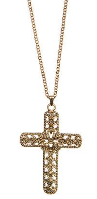 MANGO Long cross necklace