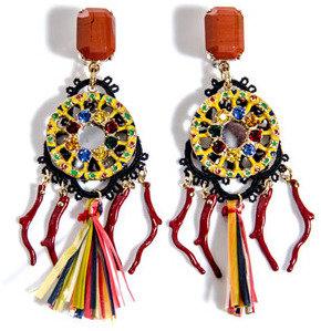 Dolce & Gabbana Raffia and macramé multi-bead earrings
