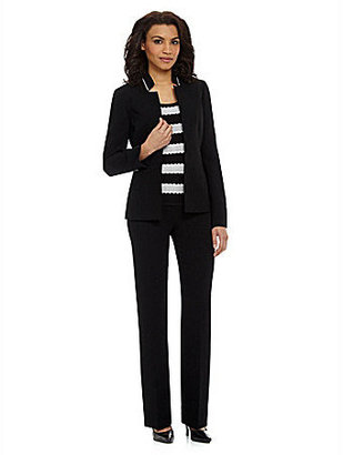 Tahari by Arthur S. Levine Tahari by ASL Striped Shell 3-Piece Pant Suit