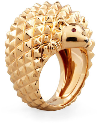 Boucheron 18k Pink Gold Herisson Hedgehog Ring, Size 7