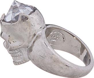 Alexander McQueen Silver & Crystal Lobotomized Skull Ring