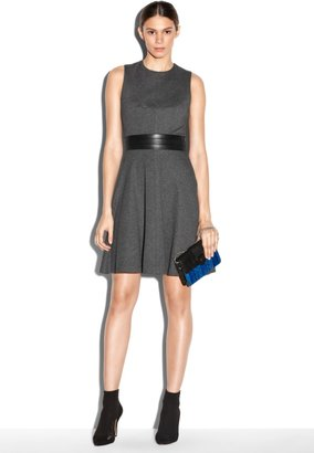 Milly Leather Wb Flared Dress